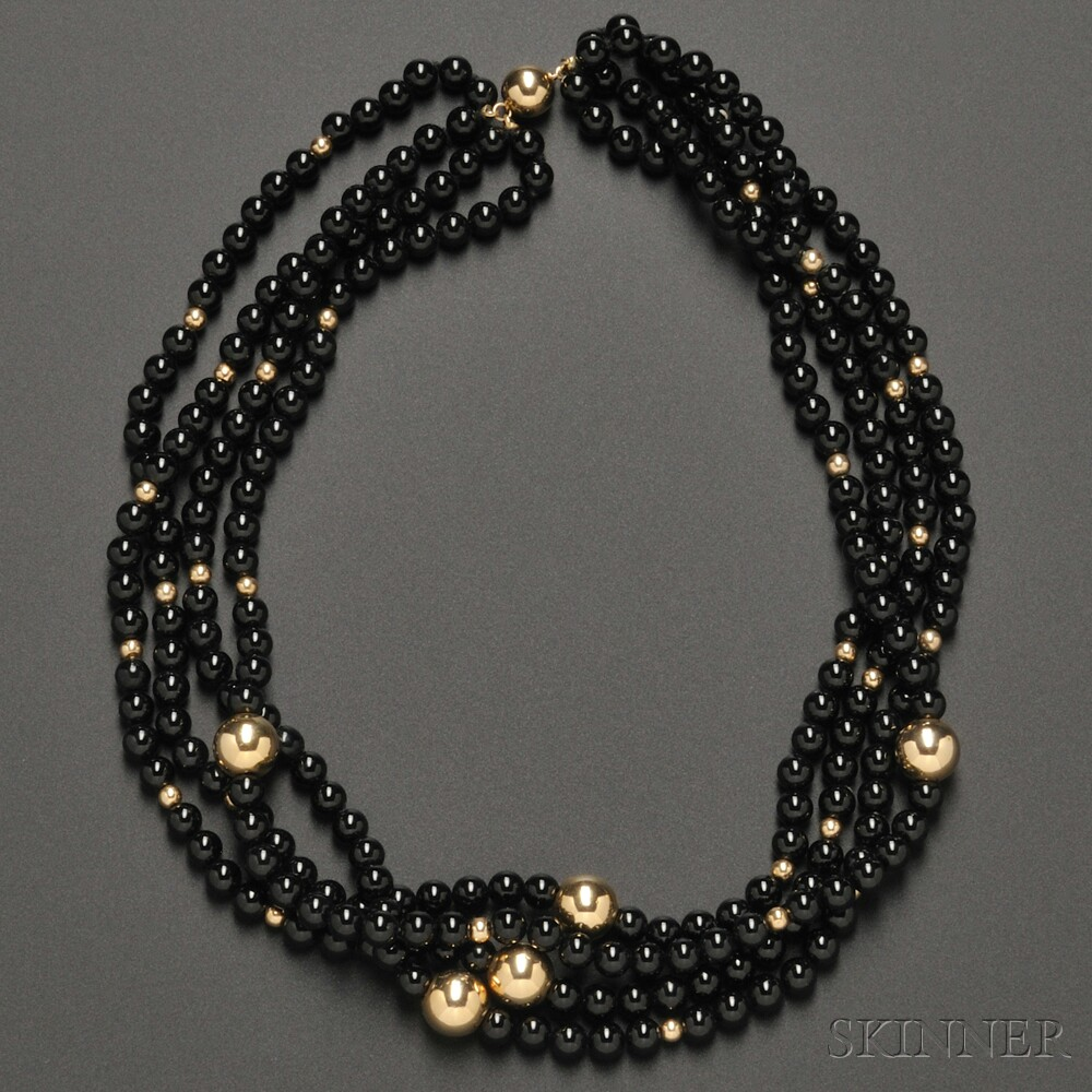 Four-strand Onyx and 14kt Gold Bead Necklace