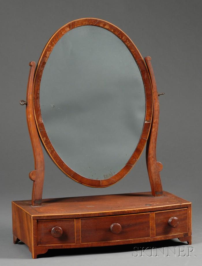 Federal Mahogany Veneer Inlaid Dressing Mirror