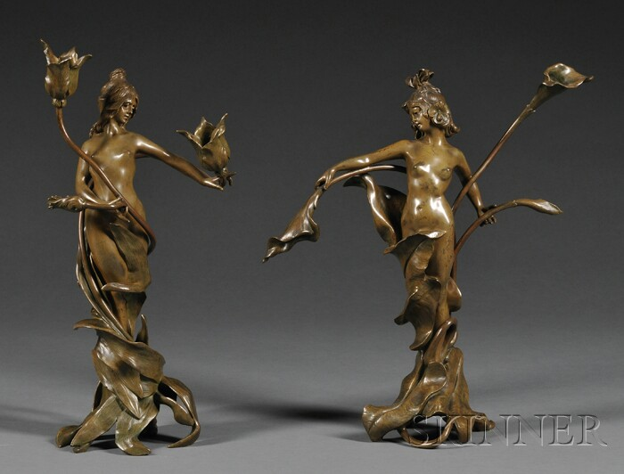 Two Figural Bronze Table Lamp Bases