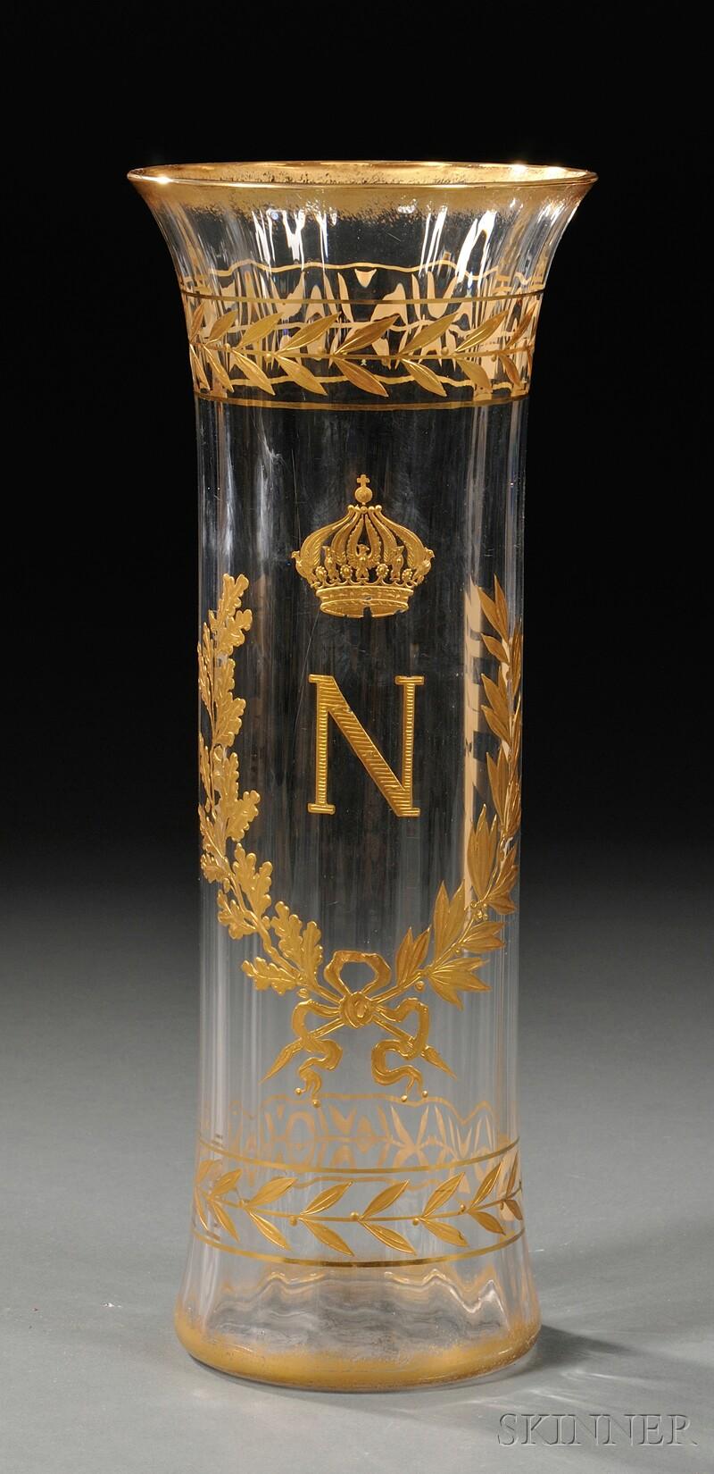 Napoleonic Gilded Glass Vase