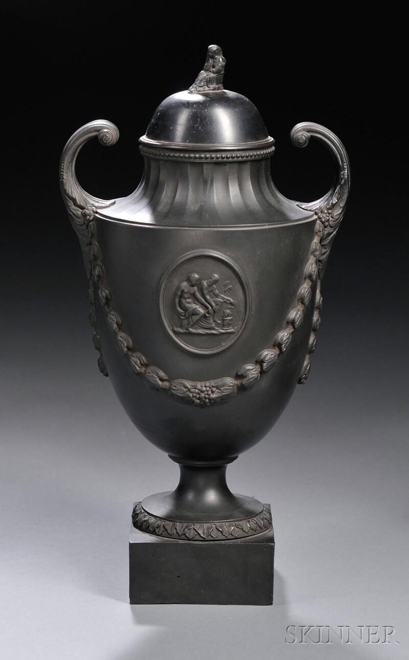Wedgwood & Bentley Black Basalt Vase with a Cover