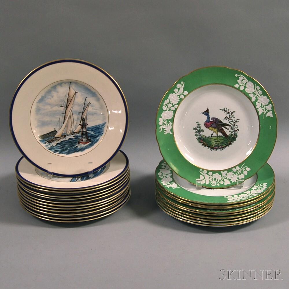 Set of Ten Copeland Spode Bird-decorated Dinner Plates and a Set of Twelve Nautical-themed Dinner Plates & Set of Ten Copeland Spode Bird-decorated Dinner Plates and a Set ...