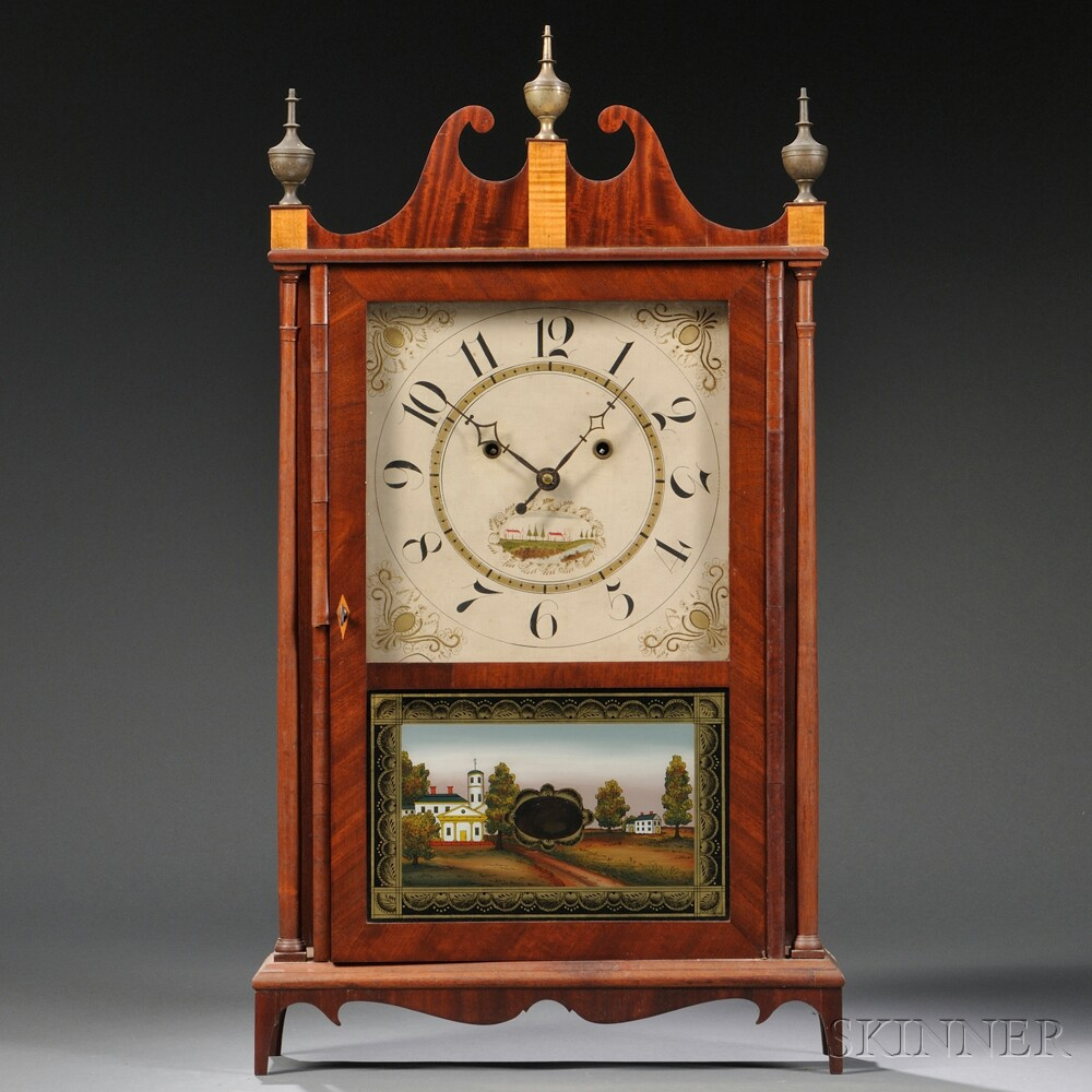 "Silas Hoadley ""Upside-Down"" Pillar and Scroll Shelf Clock"