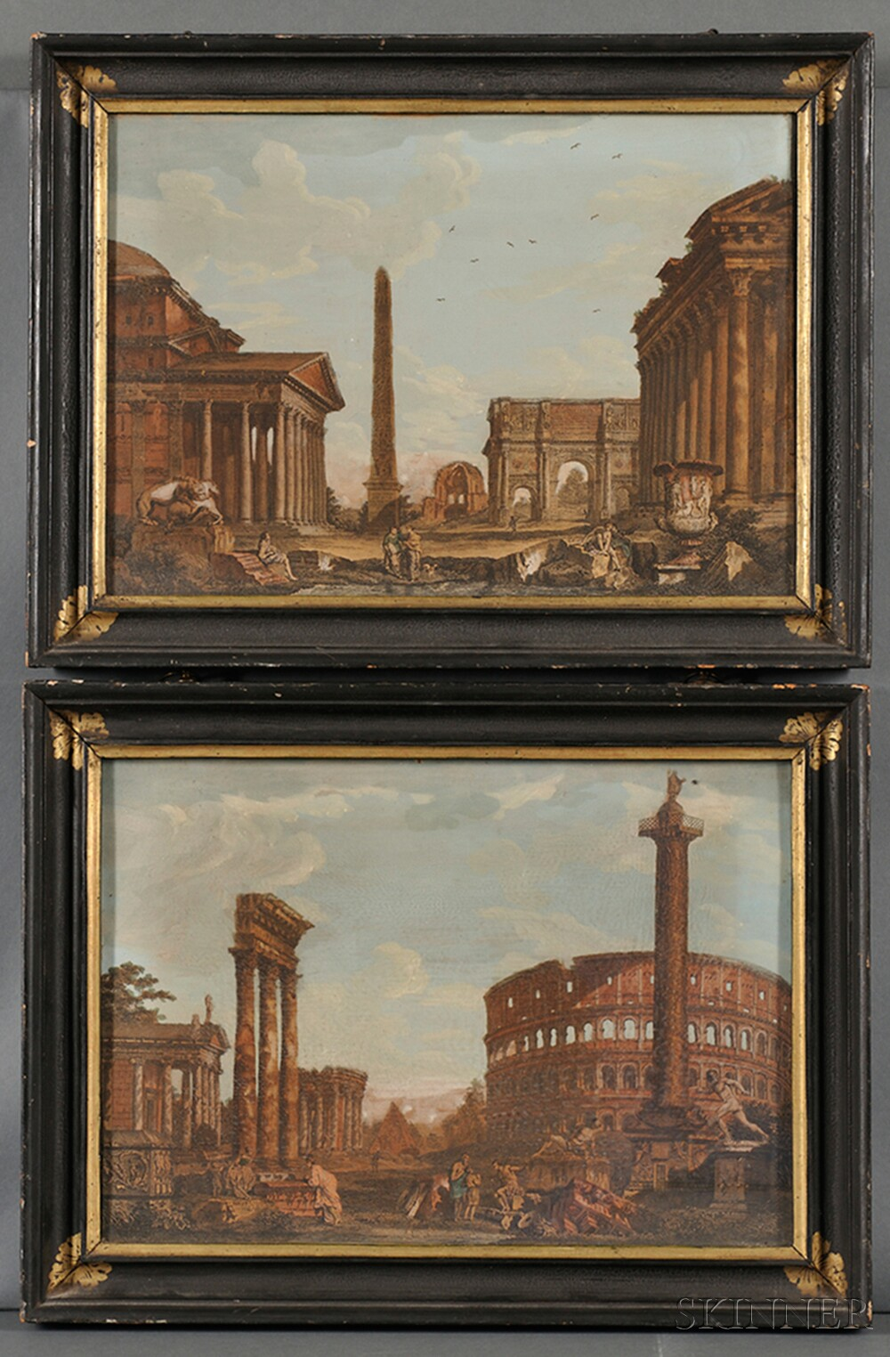 Pair of Black-painted and Parcel-gilt Frames