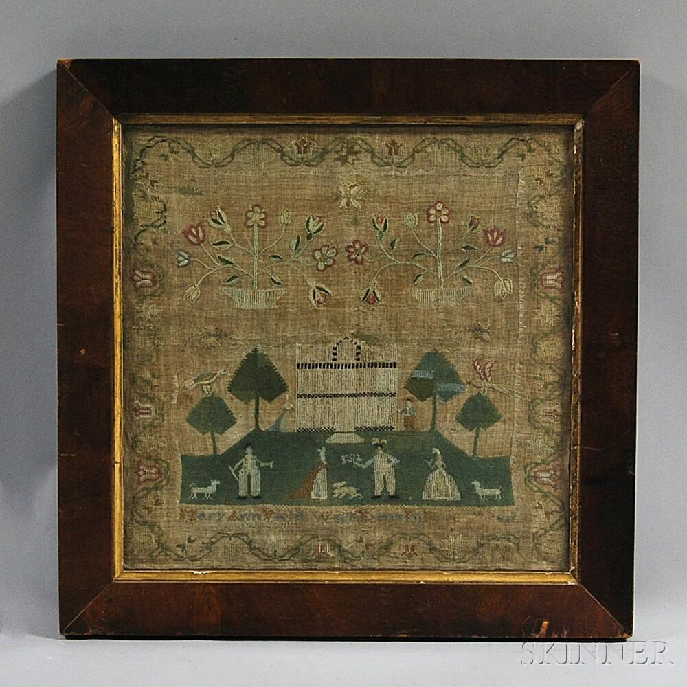 """Framed Needlework Sampler """"Mary Ann Wields,"""""""