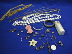Group of Stickpins, Pins and Costume Jewelry, Etc.