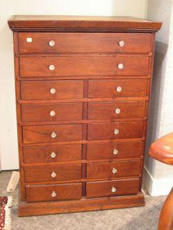 Victorian Walnut Fourteen-Drawer Storage Chest.
