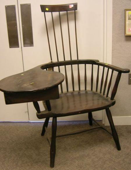 Windsor-style Mahogany Comb-back Writing Armchair.