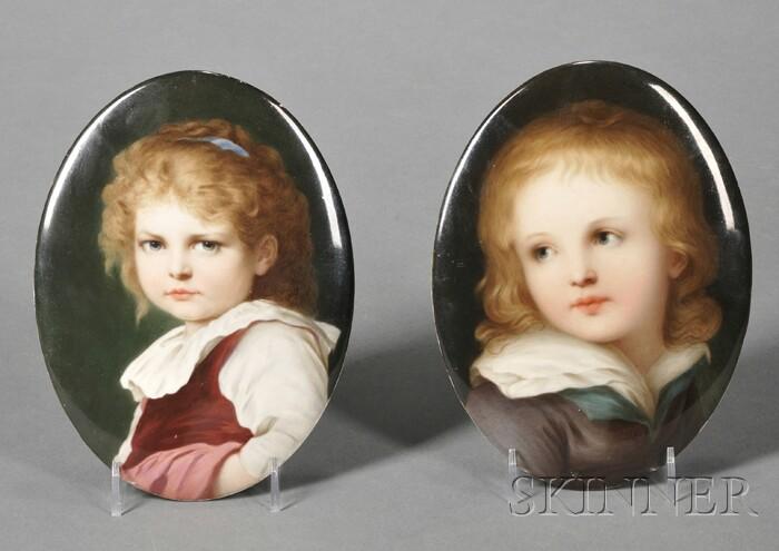 Pair of KPM Porcelain Portrait Plaques
