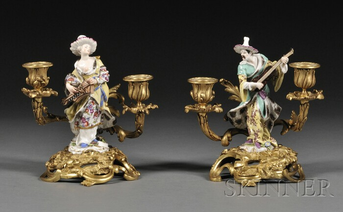 Pair of Chinoiserie Gilt-bronze and Dresden Porcelain Two-light Candelabra