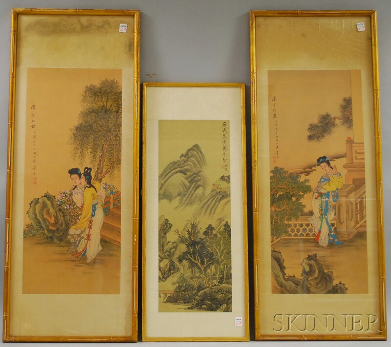 Three Framed Chinese Paintings