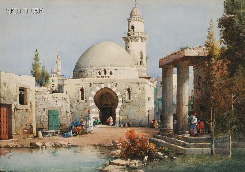 Noel Harry Leaver (British, 1889-1951)      Figures by a Mosque
