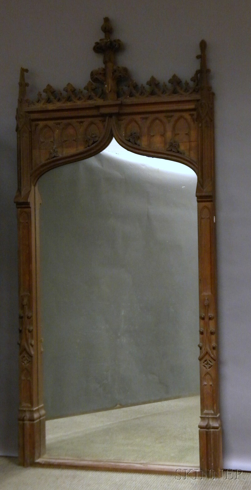 Gothic Revival Carved Walnut Mirror