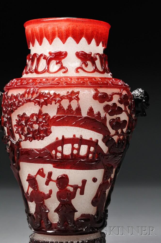 Pair of Peking Glass Vases