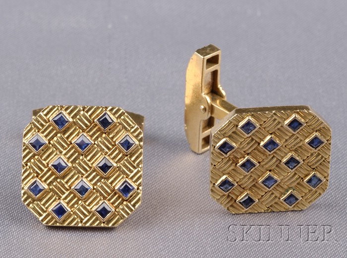 18kt Gold and Sapphire Cuff Links, Tiffany & Co.