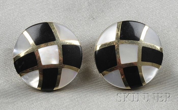 14kt Gold, Mother-of-pearl, and Onyx Earclips, Asch Grossbardt