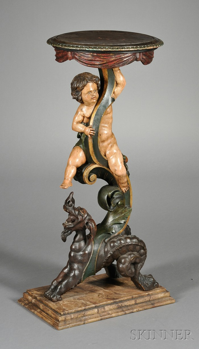 Italian Baroque Style Polychrome Painted  Figural Pedestal