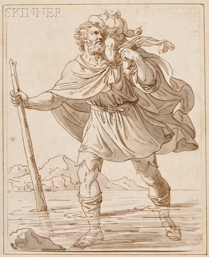 Austrian/German School, 18th Century      St. Christopher Carrying the Christ Child