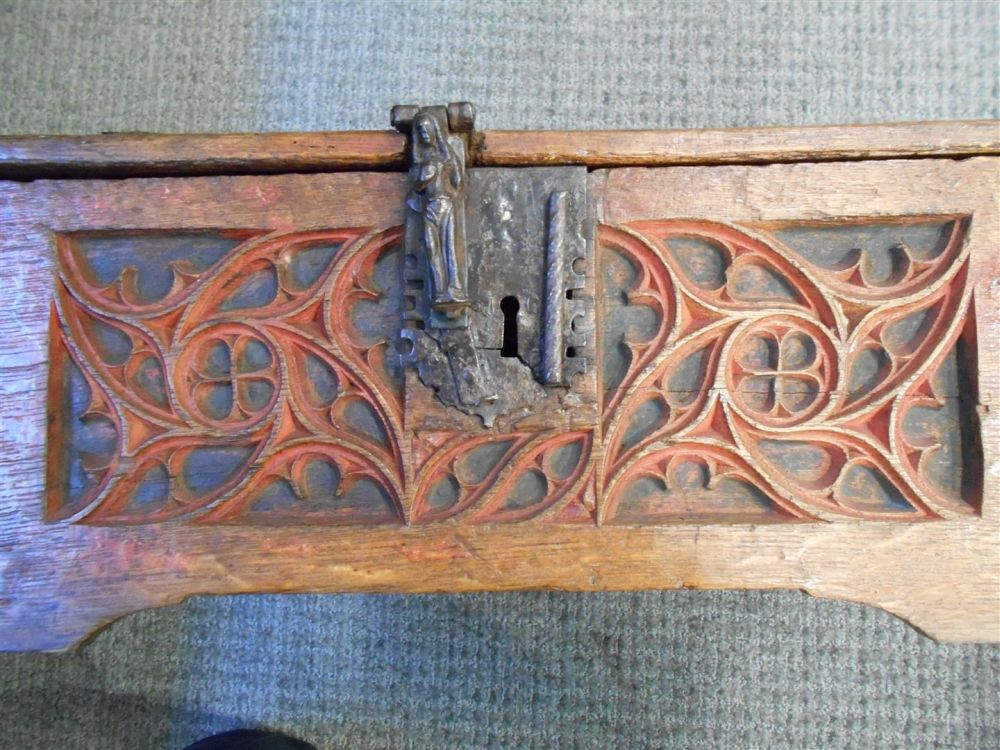 Continental Carved and Painted Walnut Coffer