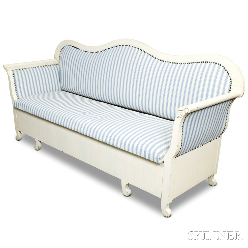 Gustavian-style White-painted Upholstered Sofa