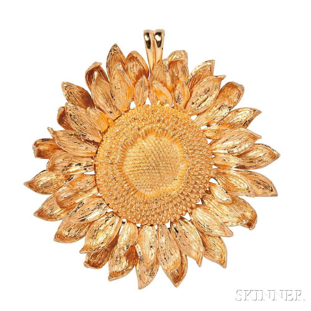 18kt Gold Sunflower Pendant, Asprey