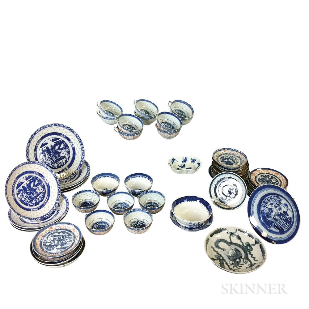 Group of Canton and Canton Rice Porcelain Tableware