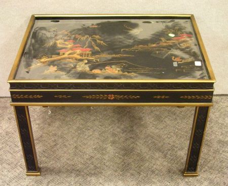 Heritage Chinese Chippendale Lacquer Low Table.