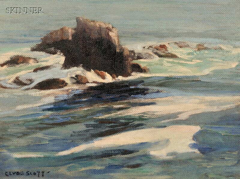 Clyde Eugene Scott (American, 1884-1959)      Coastal Rocks.