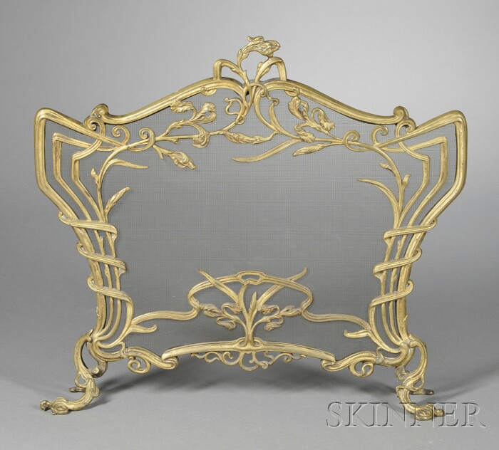 French Art Nouveau Gilt-metal Fireplace Screen