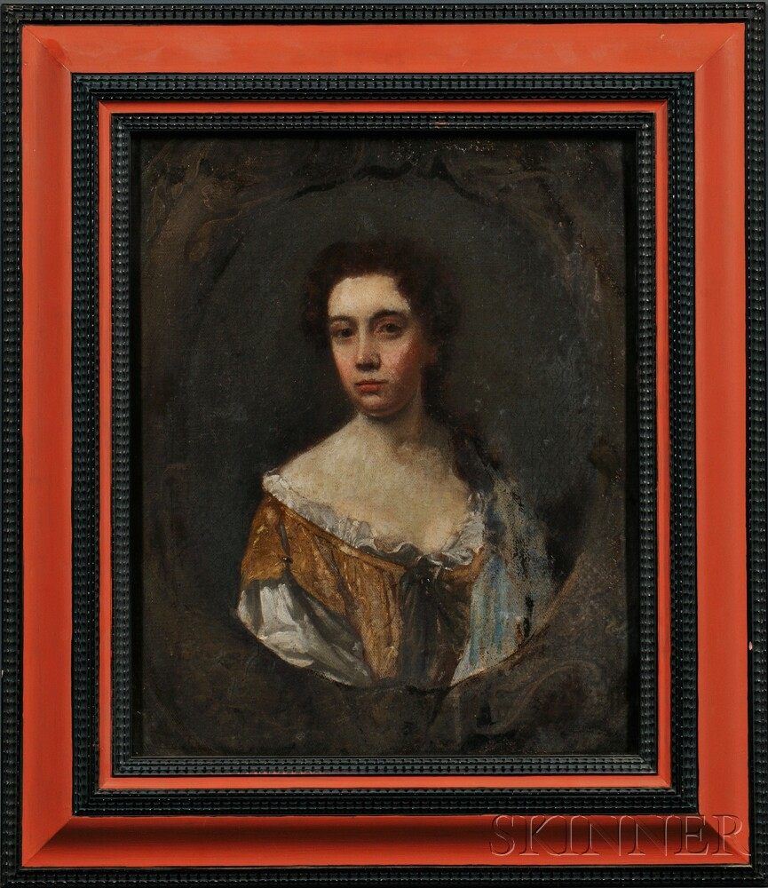 English or Continental School, 18th Century      Portrait Sketch of a Young Woman in Gold and White