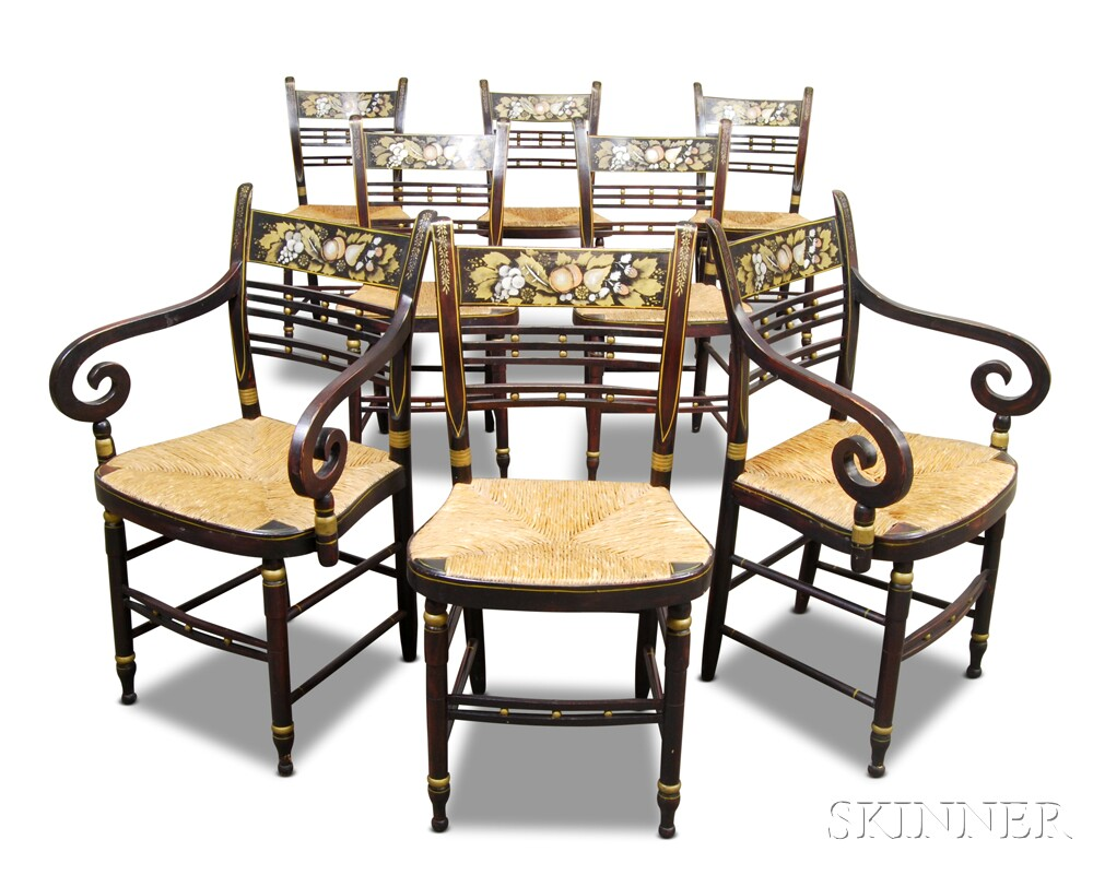 Set of Eight Painted and Stenciled Fancy Chairs