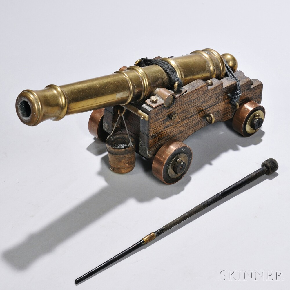 Miniature Cast Brass Cannon On Wood Carriage Sale Number