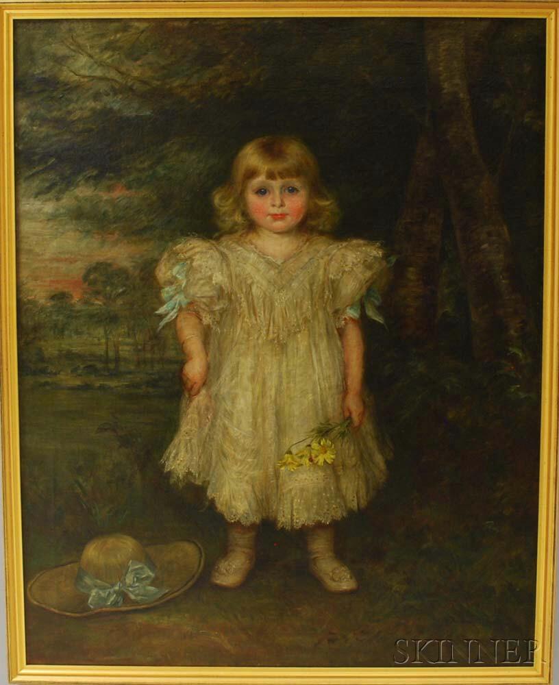 Georgina Koberwein Terrell (Austrian, 19th/20th Century)       Portrait of a Girl in a White Dress.