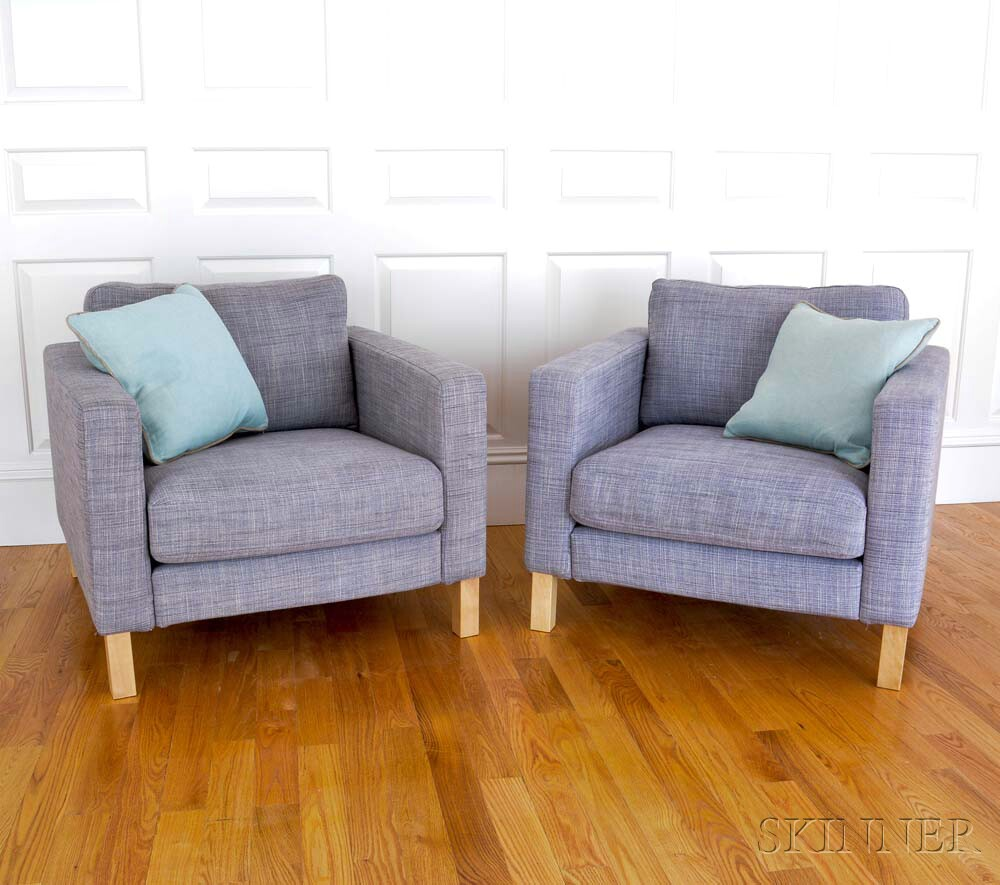 Pair Of Gray Tweed Club Chairs With Loose Aqua Accent