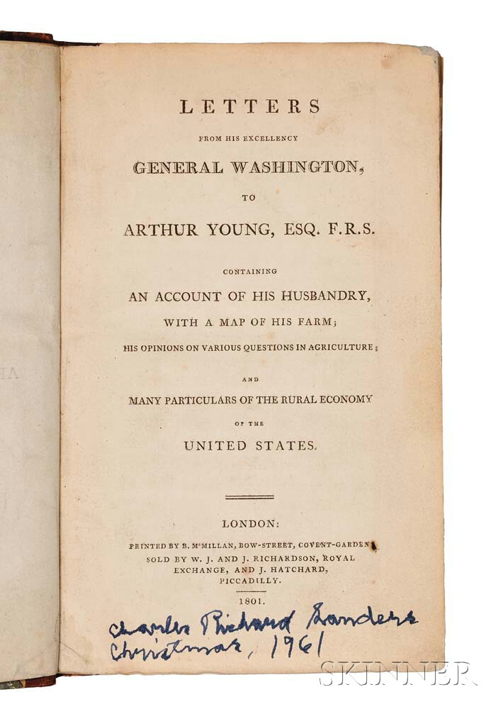 Washington, George (1732-1799) Letters from His Excellency General Washington, to Arthur Young.