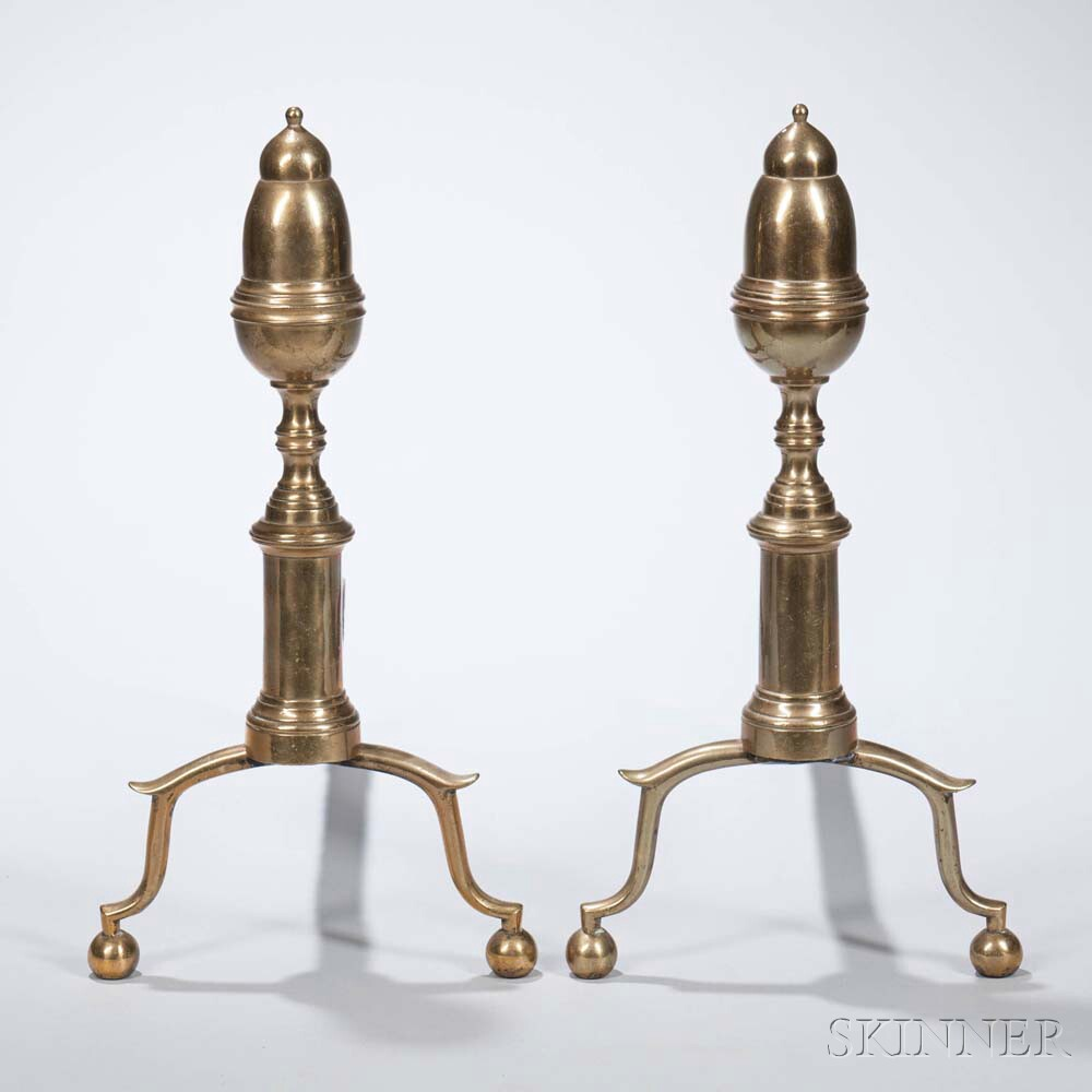 Pair of Brass and Iron Acorn-top Andirons
