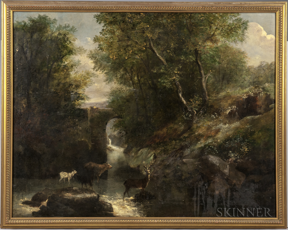 Continental School, 19th Century      Misty Landscape with Stag and Animals Watering