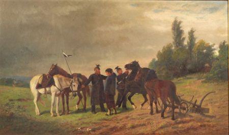 William (Carl Wilhelm) Hahn (German/American, 1829-1887)    Prussian Soldiers Taking Plowhorses