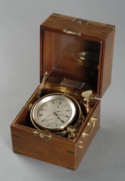 British Brass Chronometer with Brass-mound Mahogany Case