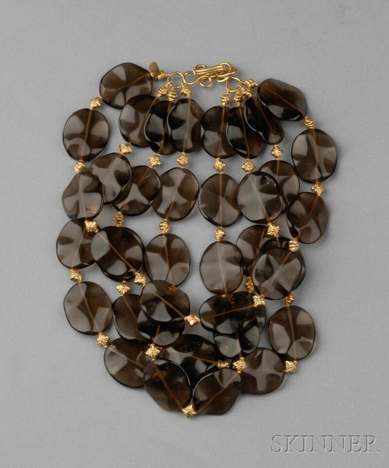 18kt Gold and Smoky Quartz Necklace, Rebecca Koven