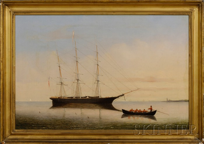 William Bradford (American, 1823-1892)      Portrait of the Whaleship Young Hector   off Clark's Point, New Bedford