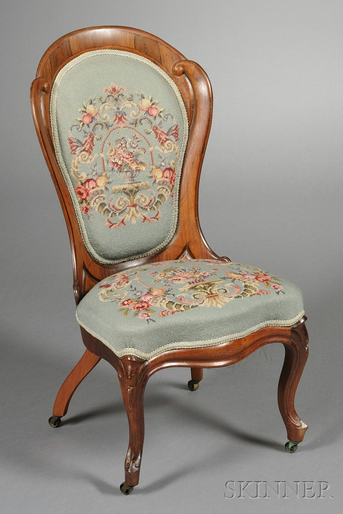 American Rococo Revival Laminated Rosewood Slipper Chair