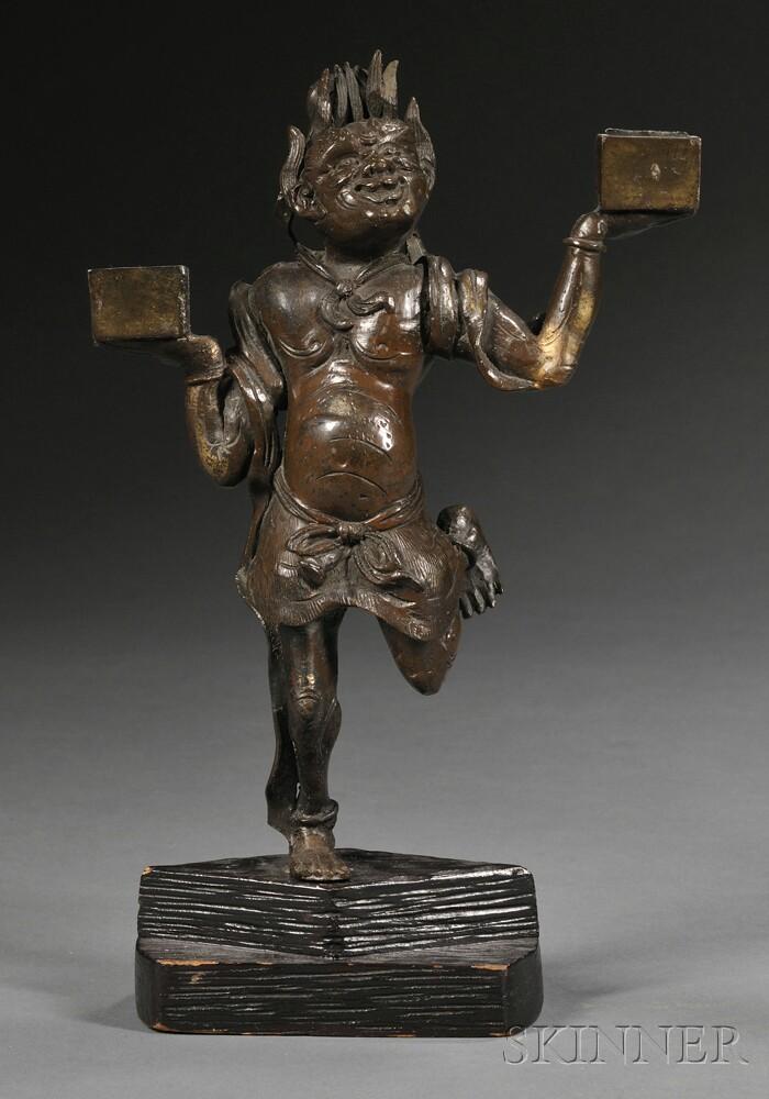 Japanese Bronze Two-light Candelabrum