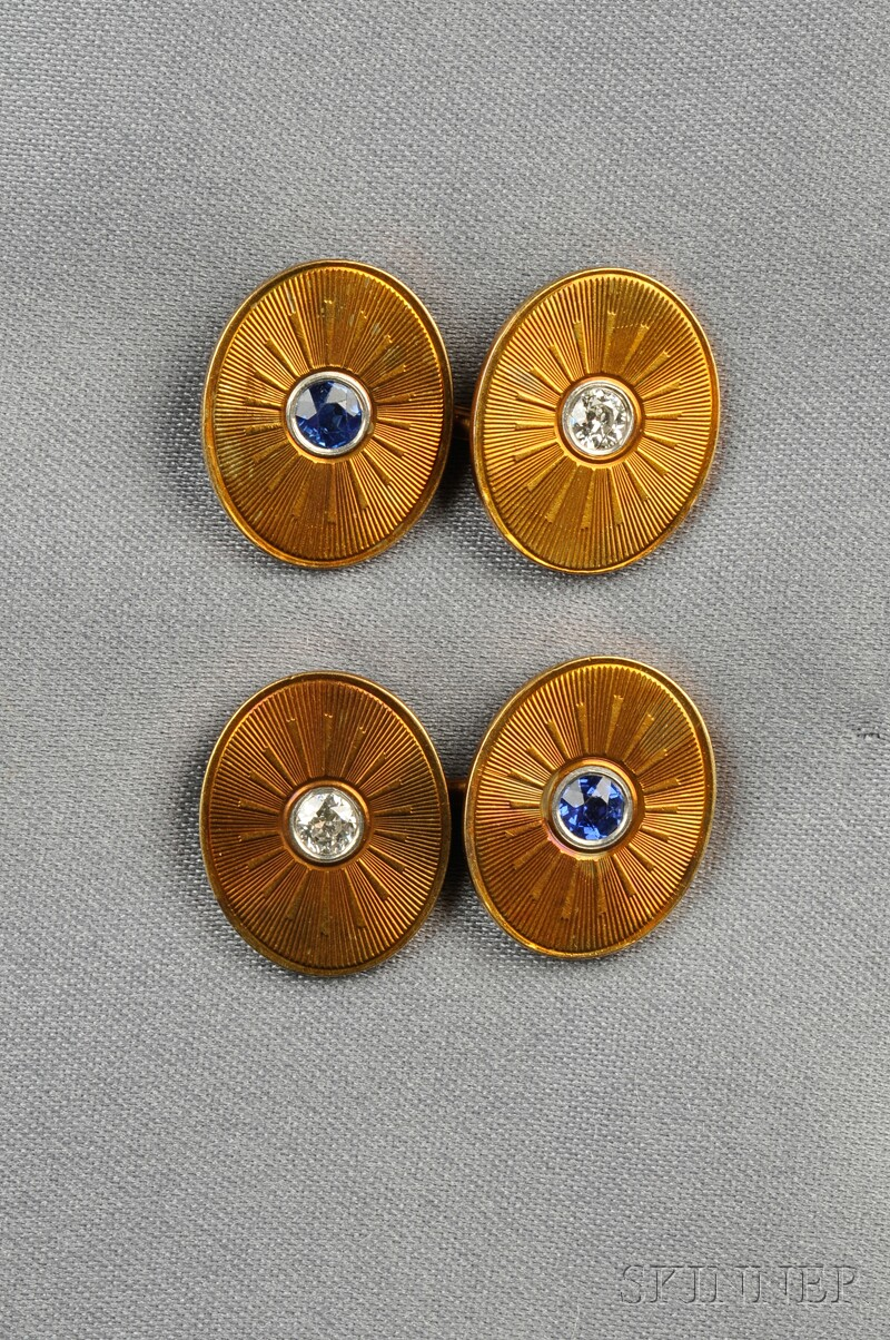 Edwardian 14kt Gold Gem-set Cuff Links, Carrington & Co.