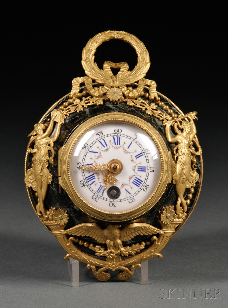 Diminutive Louis XVI-style Green Marble and Gilt-bronze Wall Timepiece