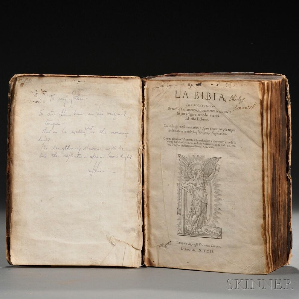 Bible, Italian, La Bibia che si Chiama il Vecchio Testamento, Nuovamente Tradutto in Lingua Volgare Secondo la Verita del Testo Hebreo