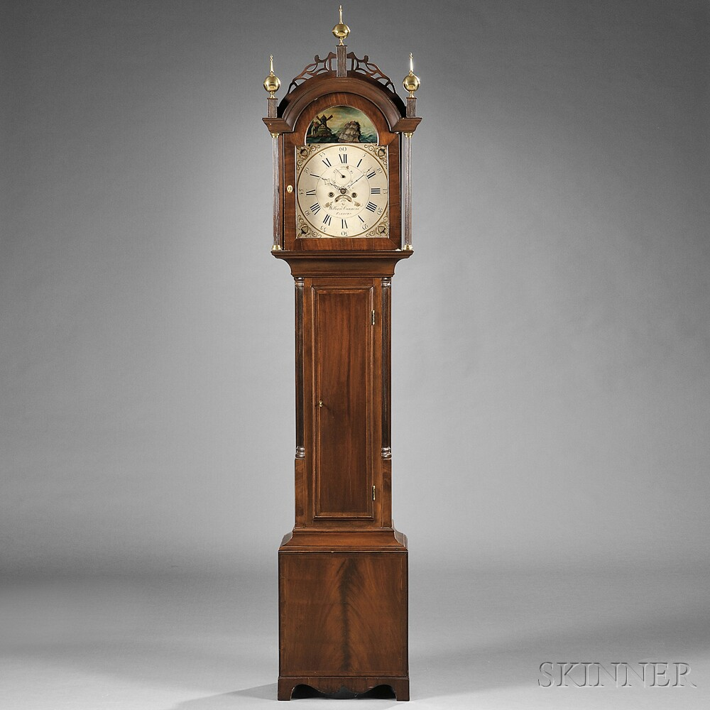William Cummens Mahogany Tall Clock with Rocking Ship Automaton