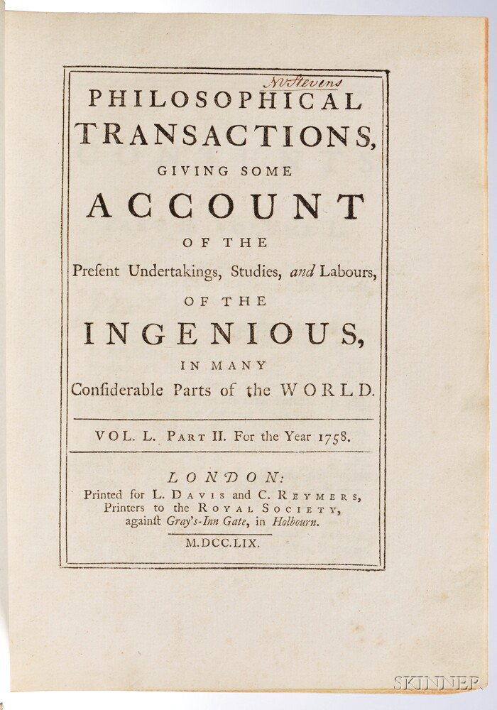 Royal Society. Philosophical Transactions Giving Some Account of the Present Undertakings, Studies, and Labours, of the Ingenious, in M