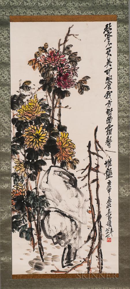 Hanging Scroll Depicting Chrysanthemums