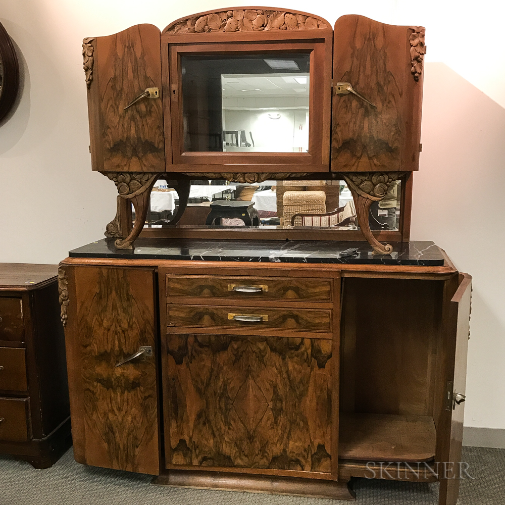 Art Deco Walnut Veneer Marble-top Mirrored Sideboard